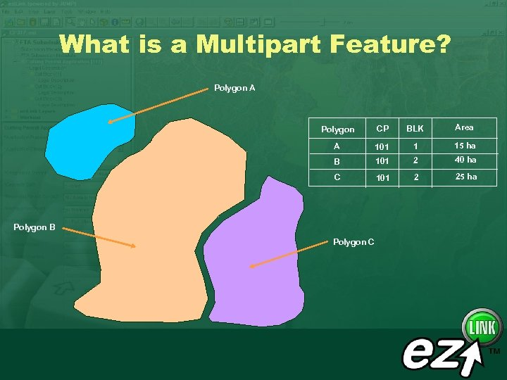 What is a Multipart Feature? Polygon A Polygon CP BLK Area A 101 1