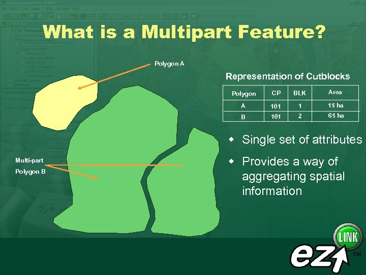 What is a Multipart Feature? Polygon A Representation of Cutblocks Polygon CP BLK Area