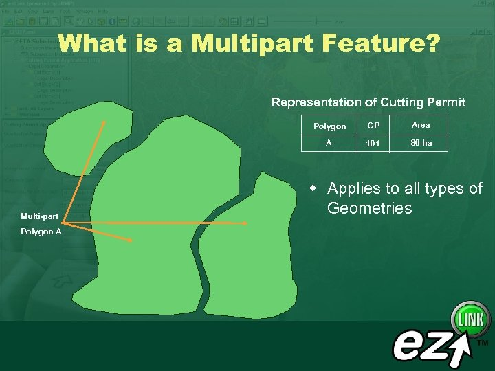 What is a Multipart Feature? Representation of Cutting Permit Polygon A Area A Multi-part