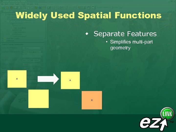 Widely Used Spatial Functions w Separate Features • Simplifies multi-part geometry