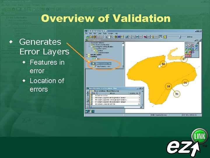 Overview of Validation w Generates Error Layers w Features in error w Location of