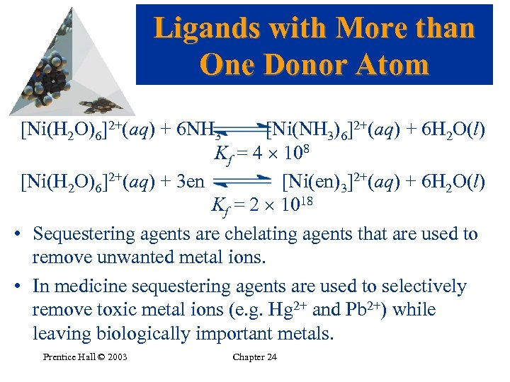 Ligands with More than One Donor Atom [Ni(H 2 O)6]2+(aq) + 6 NH 3