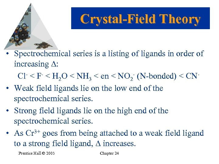 Crystal-Field Theory • Spectrochemical series is a listing of ligands in order of increasing