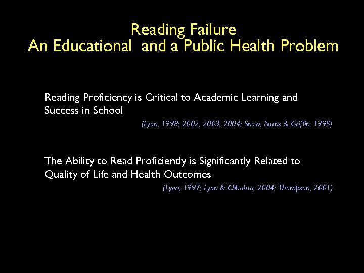 Reading Failure An Educational and a Public Health Problem Reading Proficiency is Critical to
