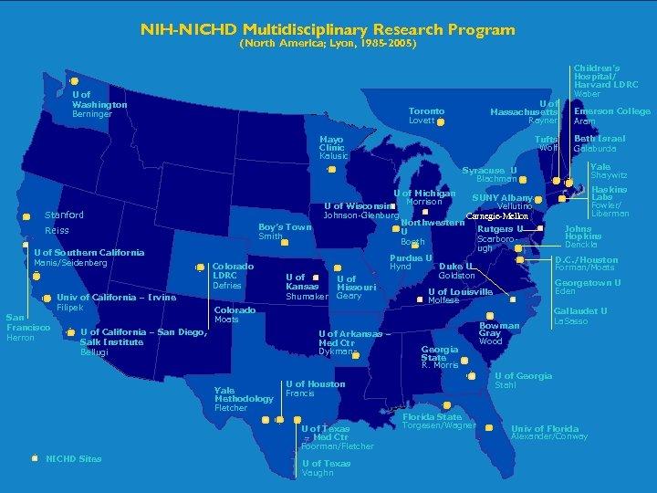 NIH-NICHD Multidisciplinary Research Program (North America; Lyon, 1985 -2005) Children's Hospital/ Harvard LDRC Waber