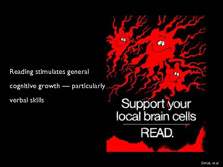 Reading stimulates general cognitive growth — particularly verbal skills Simos, et al