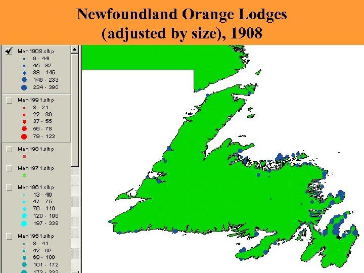 Newfoundland Orange Lodges (adjusted by size), 1908