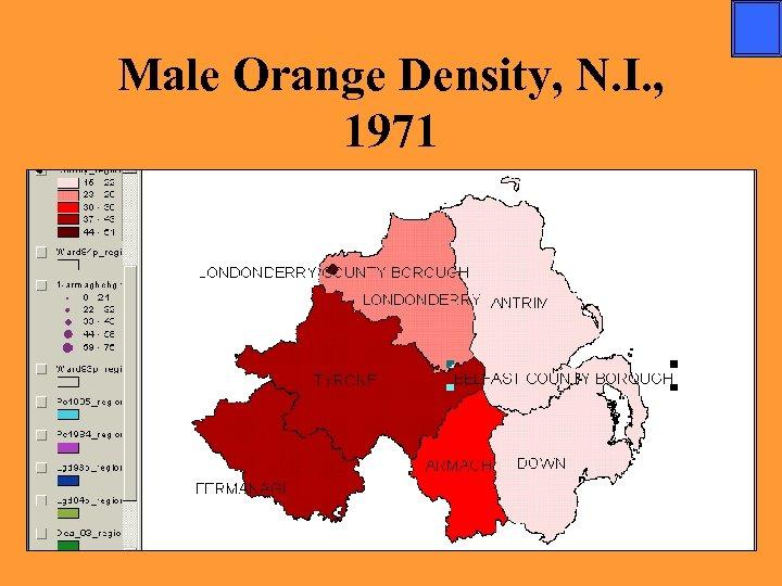 Male Orange Density, N. I. , 1971