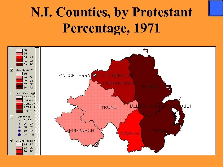 N. I. Counties, by Protestant Percentage, 1971