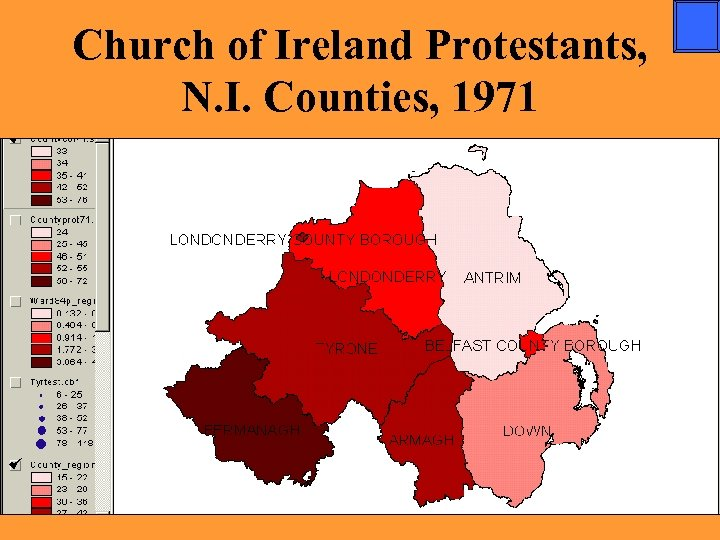 Church of Ireland Protestants, N. I. Counties, 1971