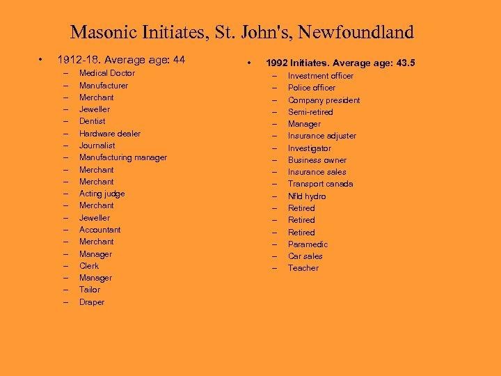 Masonic Initiates, St. John's, Newfoundland • 1912 -18. Average age: 44 – – –