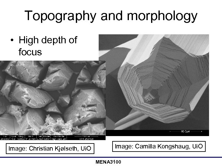 Topography and morphology • High depth of focus Image: Christian Kjølseth, Ui. O Image: