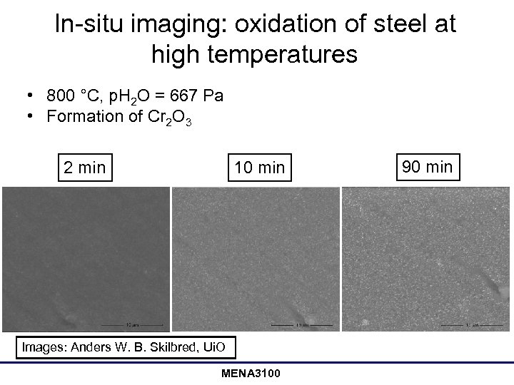 In-situ imaging: oxidation of steel at high temperatures • 800 °C, p. H 2