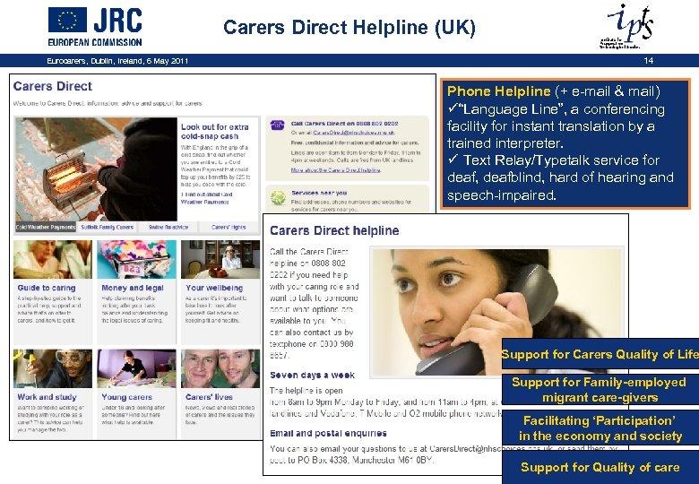 Carers Direct Helpline (UK) Eurocarers, Dublin, Ireland, 6 May 2011 14 Phone Helpline (+