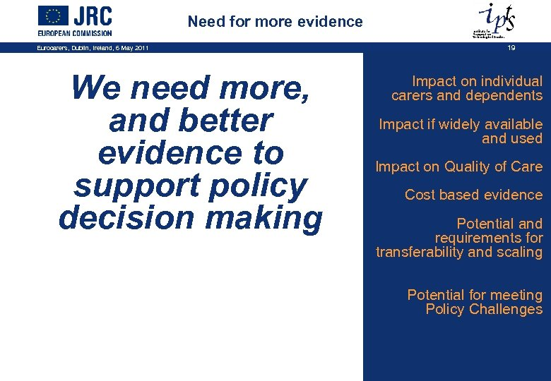 Need for more evidence Eurocarers, Dublin, Ireland, 6 May 2011 We need more, and