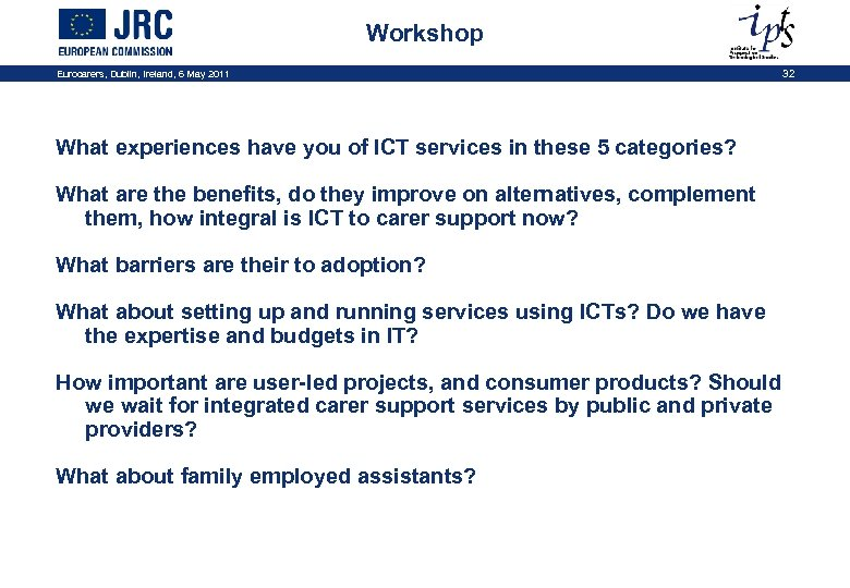 Workshop Eurocarers, Dublin, Ireland, 6 May 2011 32 What experiences have you of ICT