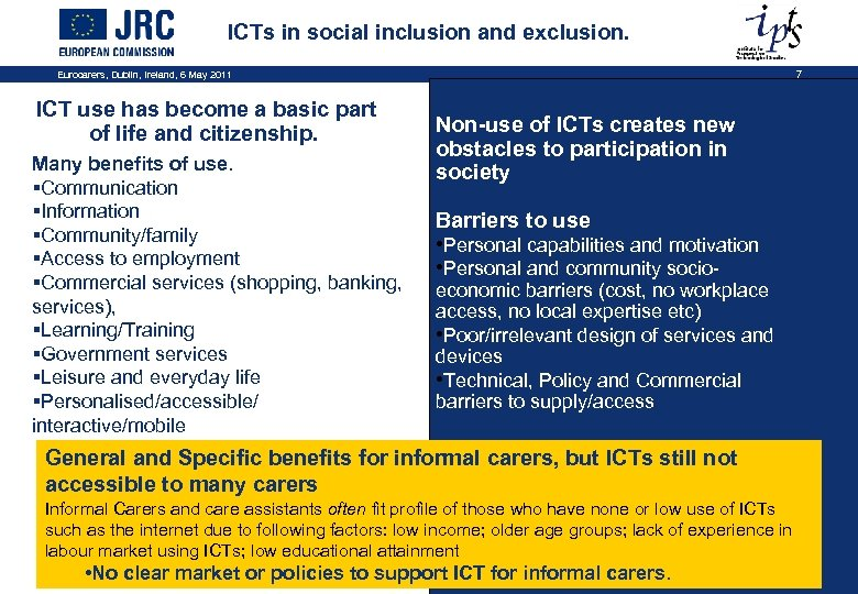 ICTs in social inclusion and exclusion. Eurocarers, Dublin, Ireland, 6 May 2011 ICT use