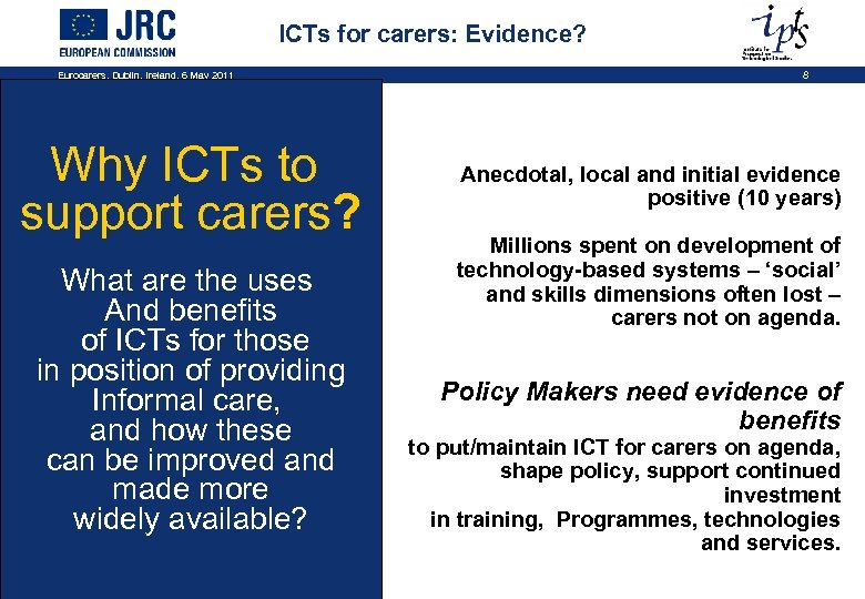 ICTs for carers: Evidence? Eurocarers, Dublin, Ireland, 6 May 2011 Why ICTs to support