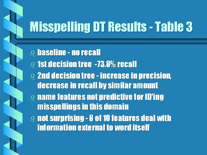 Misspelling DT Results - Table 3 b baseline - no recall b 1 st