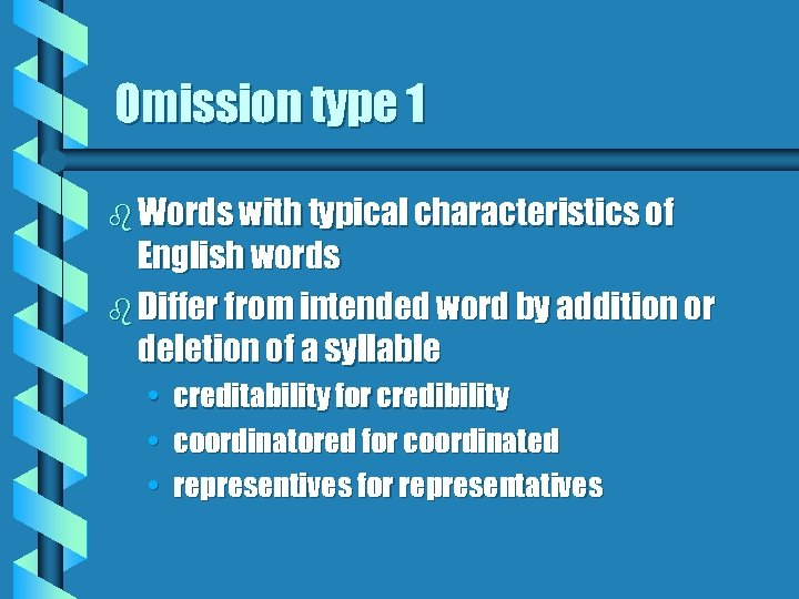 Omission type 1 b Words with typical characteristics of English words b Differ from