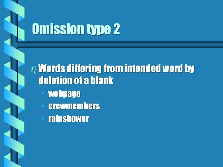 Omission type 2 b Words differing from intended word by deletion of a blank