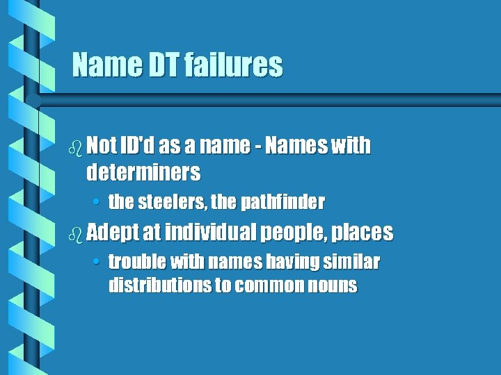 Name DT failures b Not ID'd as a name - Names with determiners •