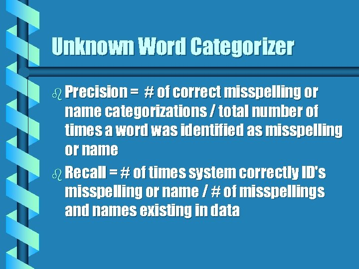 Unknown Word Categorizer b Precision = # of correct misspelling or name categorizations /