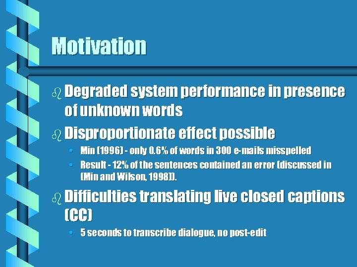 Motivation b Degraded system performance in presence of unknown words b Disproportionate effect possible