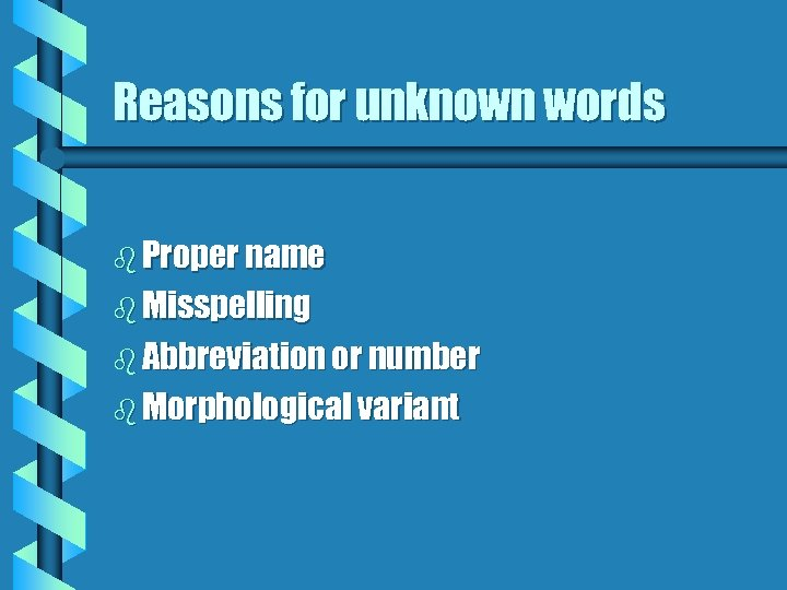 Reasons for unknown words b Proper name b Misspelling b Abbreviation or number b