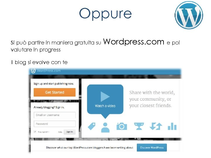 Oppure Si può partire in maniera gratuita su Wordpress. com e poi valutare in