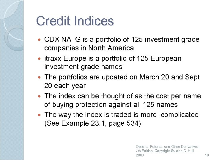 Credit Indices CDX NA IG is a portfolio of 125 investment grade companies in
