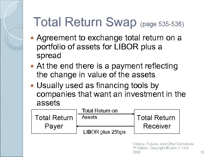 Total Return Swap (page 535 -536) Agreement to exchange total return on a portfolio