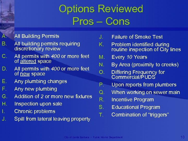 Options Reviewed Pros – Cons A. B. C. D. E. F. G. H. I.