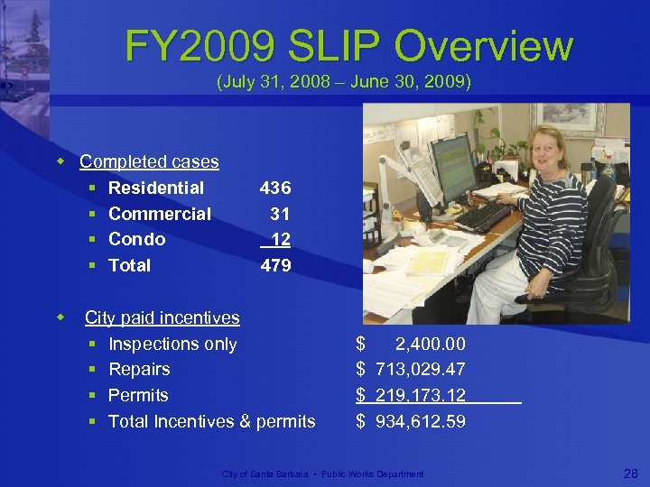 FY 2009 SLIP Overview (July 31, 2008 – June 30, 2009) w Completed cases