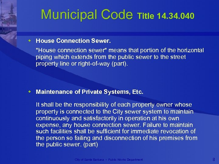 Municipal Code Title 14. 34. 040 w House Connection Sewer.