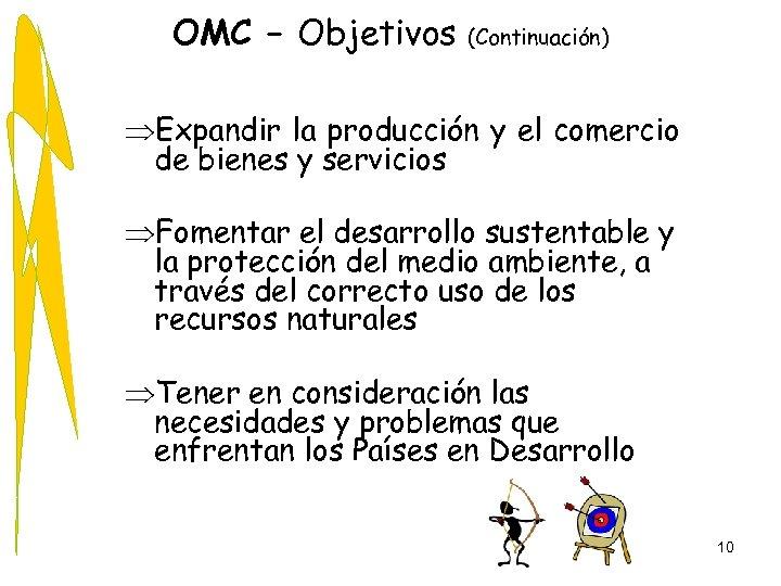 OMC – Objetivos (Continuación) ÞExpandir la producción y el comercio de bienes y servicios