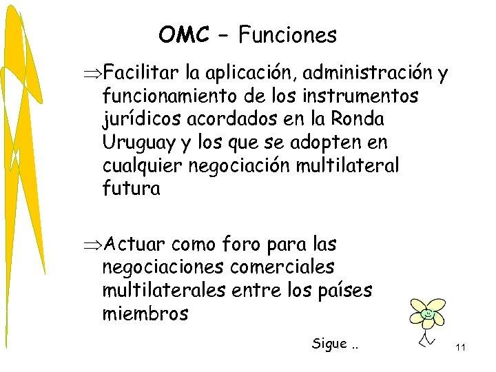 OMC – Funciones ÞFacilitar la aplicación, administración y funcionamiento de los instrumentos jurídicos acordados