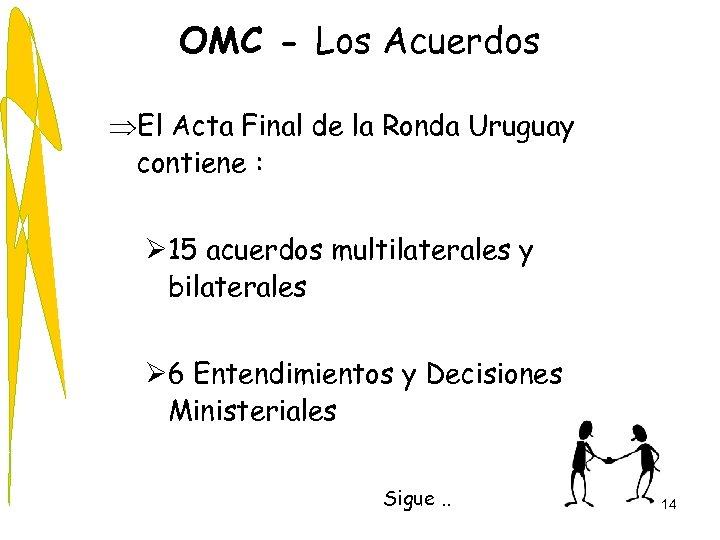 OMC - Los Acuerdos ÞEl Acta Final de la Ronda Uruguay contiene : Ø