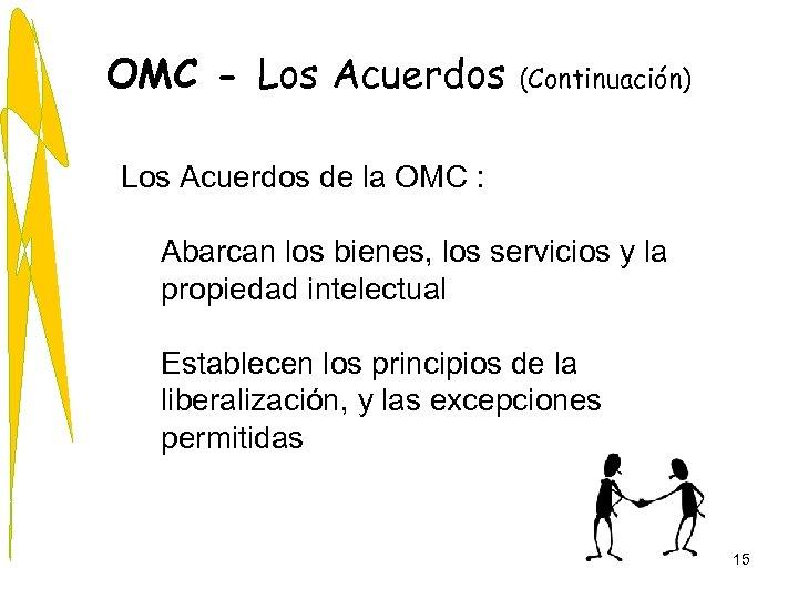 OMC - Los Acuerdos (Continuación) Los Acuerdos de la OMC : Abarcan los bienes,