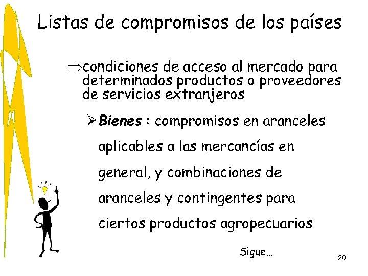 Listas de compromisos de los países Þcondiciones de acceso al mercado para determinados productos