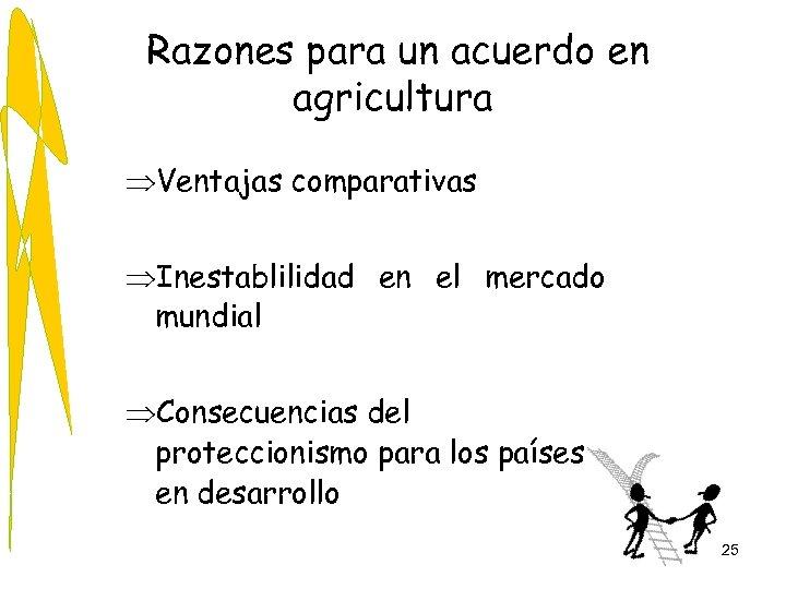 Razones para un acuerdo en agricultura ÞVentajas comparativas ÞInestablilidad en el mercado mundial ÞConsecuencias