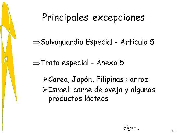 Principales excepciones ÞSalvaguardia Especial - Artículo 5 ÞTrato especial - Anexo 5 ØCorea, Japón,