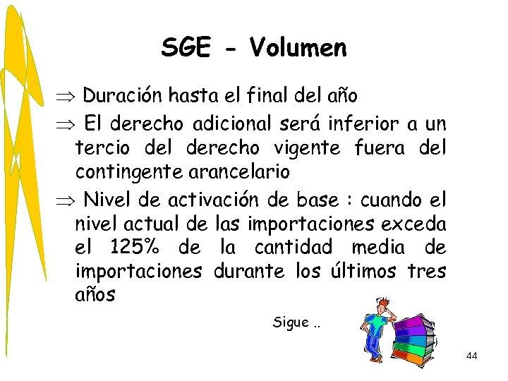 SGE - Volumen Þ Duración hasta el final del año Þ El derecho adicional