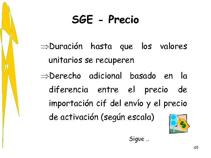 SGE - Precio ÞDuración hasta que los valores unitarios se recuperen ÞDerecho adicional basado