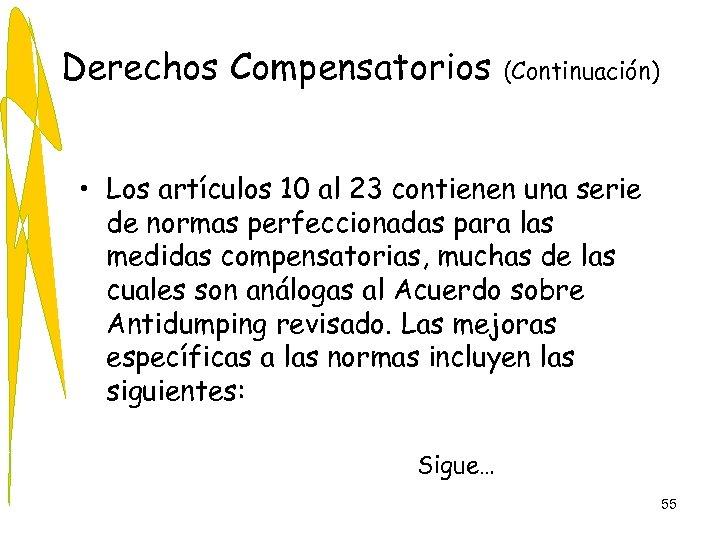 Derechos Compensatorios (Continuación) • Los artículos 10 al 23 contienen una serie de normas