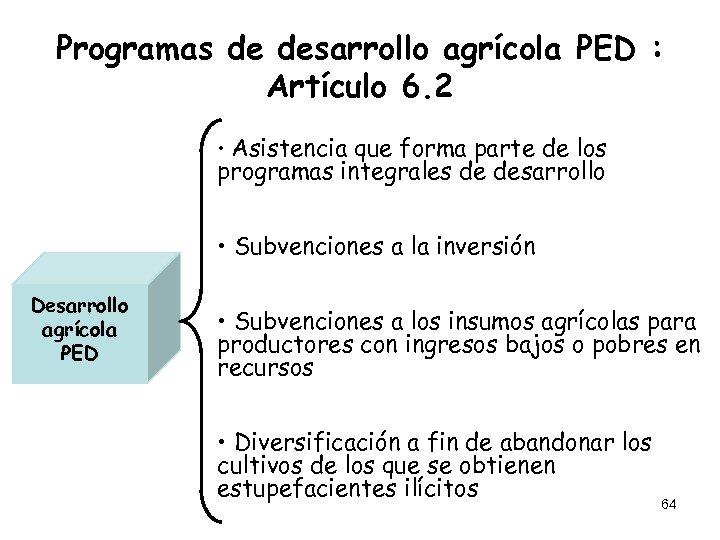 Programas de desarrollo agrícola PED : Artículo 6. 2 • Asistencia que forma parte