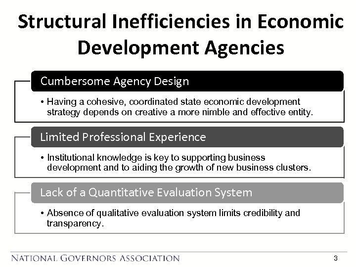 Structural Inefficiencies in Economic Development Agencies Cumbersome Agency Design • Having a cohesive, coordinated