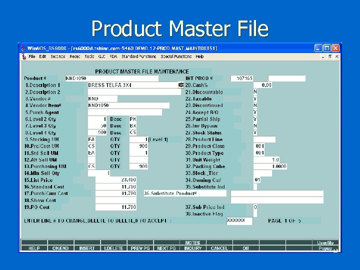 Product Master File 13