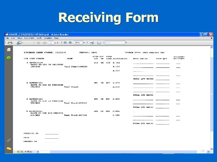 Receiving Form 18