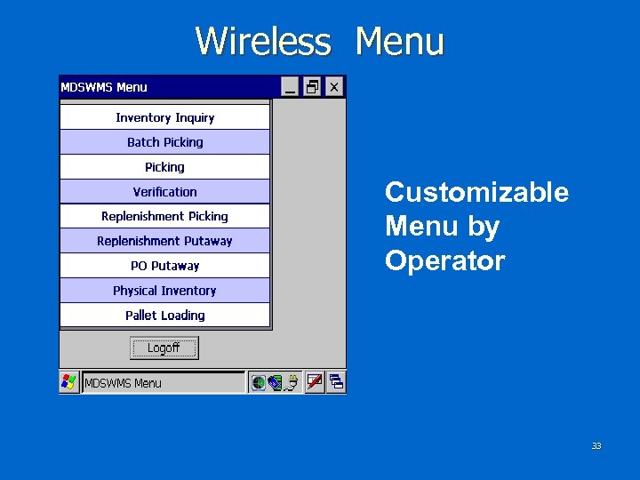 Wireless Menu Customizable Menu by Operator 33